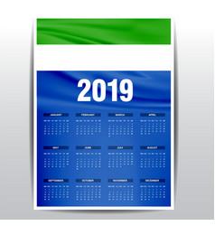 Calendar 2019 sierra leone flag background vector