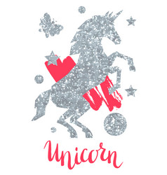 Card with fantasy unicorn and silver glitter vector