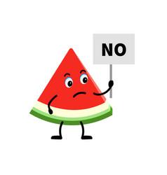 Cartoon character watermelon holding a sign vector