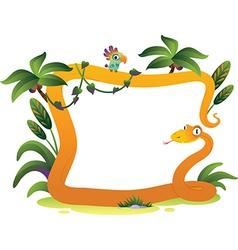 Cartoon frame snake on white background vector