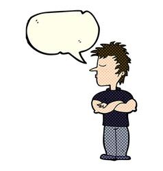 Cartoon man refusing to listen with speech bubble vector
