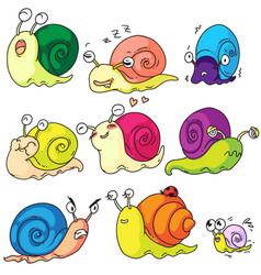 cartoon snail set isolated on white background vector image