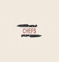 chefs knife sketch chalk design vector image