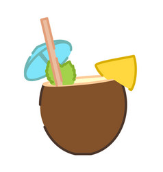 Coconut pina colada cocktail icon vector