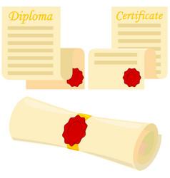 Colorful cartoon graduation scroll set vector