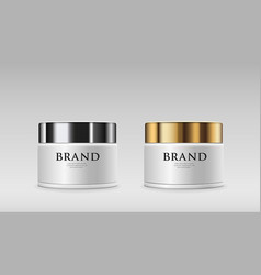 Cream bottles collections silver and gold cap vector