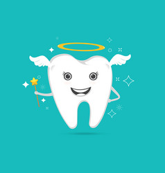 Cute angelic tooth vector