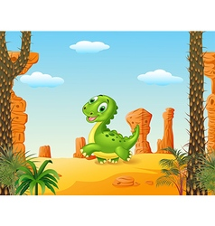 Cute baby dinosaur running in the desert backgroun vector