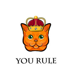 Cute cat face with crown cat king vector