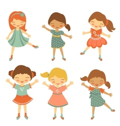 Cute little girls vector