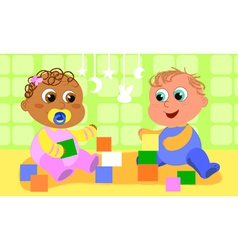 cute playing babies vector image