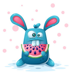 cute rabbit with watermelon vector image