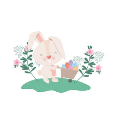 easter bunny with flowers and easter eggs icon vector image
