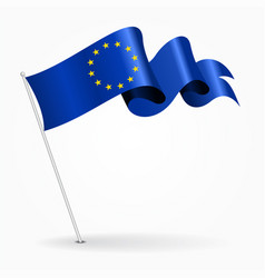 European union pin wavy flag vector