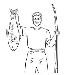 fisherman with fish coloring book vector image