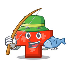 fishing cross mascot cartoon style vector image