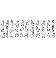 Funny alpacas animals doodle set vector