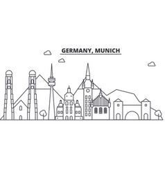 Germany munich architecture line skyline vector