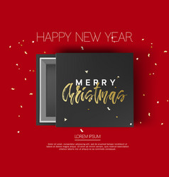 gift box with merry christmas and happy new year vector image