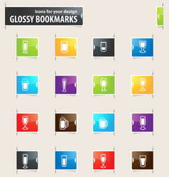 glasses and cups bookmark icons vector image