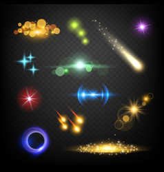 glow lens effects glares bokeh circles burst vector image