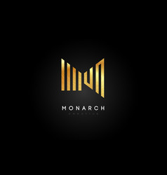 Gold m logo m letter icon design vector