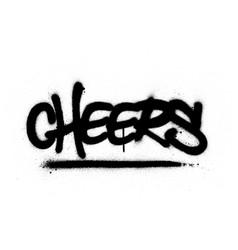 Graffiti cheers word sprayed in black over white vector