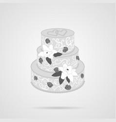 gray cake flat icon vector image
