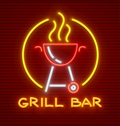 grill bar neon icon equipment vector image