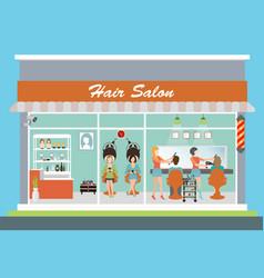 Hair salon building and interior vector