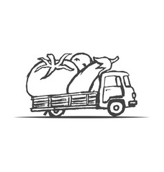 Hand drawn truck with giant vegetables vector