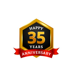 happy 35 years golden anniversary logo vector image