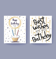 Happy birthday best wishes congratulation postcard vector