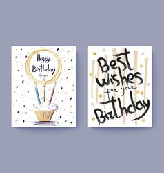 happy birthday best wishes congratulation postcard vector image