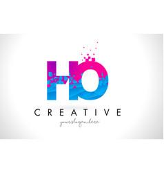 Ho h o letter logo with shattered broken blue vector