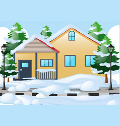 House on the road covered with snow vector