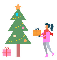 kid carrying present to tree winter holidays vector image