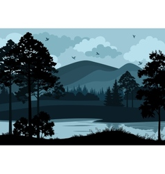 Landscape Trees Lake and Mountains vector image