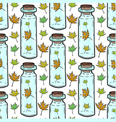 leaves and bottles seamless pattern autumn vector image