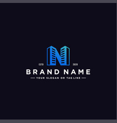 Letter n and building colorful logo design vector