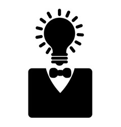 lightbulb head businessman character icon vector image