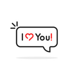linear i love you text in speech bubble vector image
