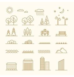 Linear landscape elements icons set Line vector image