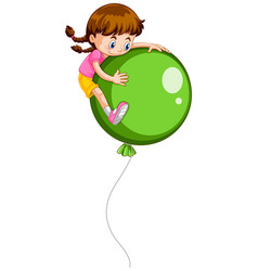 little girl and giant green balloon vector image
