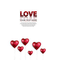 Love text red color with heart balloon floating vector