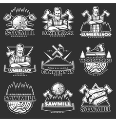 Lumberjack Dark Emblem Set vector