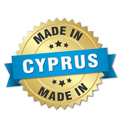 made in Cyprus gold badge with blue ribbon vector image