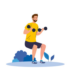 Man doing squats with dumbbells outdoor exercise vector