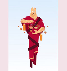 man wearing dog mask in traditional kimono china vector image