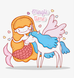 Mermaid woman and cute unicorn with wings vector